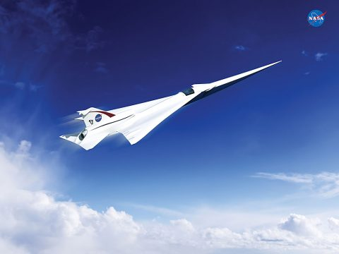 This rendering shows the Lockheed Martin future supersonic advanced concept featuring two engines under the wings and one on top of the fuselage (not visible in this image).