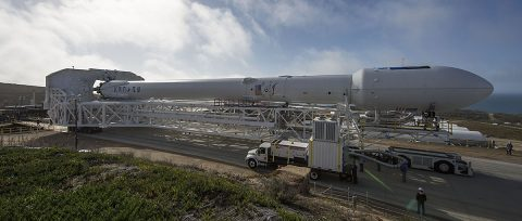 The SpaceX Falcon 9 rocket that will loft the Jason-3 oceanography satellite into orbit is rolled out to Space Launch Complex 4 East at California's Vandenberg Air Force Base in preparation for launch on January 17. (SpaceX)