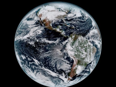 This composite color full-disk visible image of the Western Hemisphere was captured from NOAA GOES-16 satellite at 1:07 pm EST on Jan. 15, 2017 and created using several of the 16 spectral channels available on the satellite's sophisticated Advanced Baseline Imager. The image, taken from 22,300 miles above the surface, shows North and South America and the surrounding oceans. (NOAA)