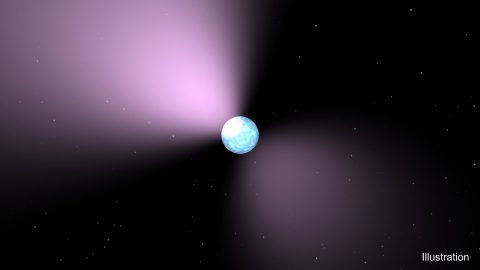 This artist's concept shows a pulsar, which is like a lighthouse, as its light appears in regular pulses as it rotates. (NASA/JPL-Caltech)