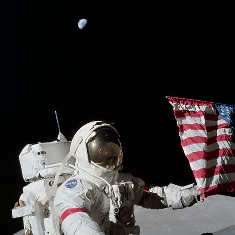 Apollo 17 Commander Eugene Cernan and the U.S. flag on the lunar surface. (NASA)