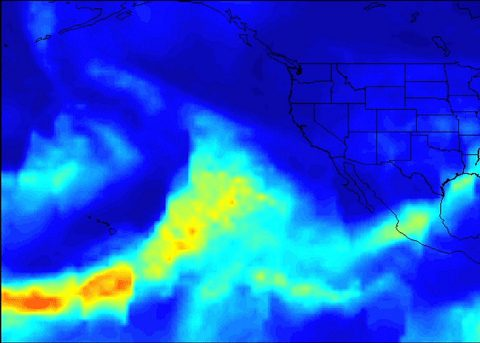 A series of atmospheric rivers that brought drought-relieving rains, heavy snowfall and flooding to California this week is highlighted in a new movie created with satellite data from the Atmospheric Infrared Sounder (AIRS) instrument on NASA's Aqua satellite. (NASA/JPL-Caltech)