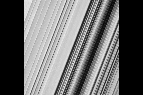 This image shows a region in Saturn's outer B ring. NASA's Cassini spacecraft viewed this area at a level of detail twice as high as it had ever been observed before. And from this view, it is clear that there are still finer details to uncover. (NASA/JPL-Caltech/Space Science Institute)