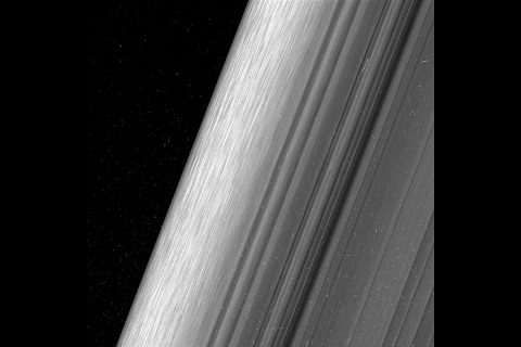 This image shows a region in Saturn's outer B ring. NASA's Cassini spacecraft viewed this area at a level of detail twice as high as it had ever been observed before. (NASA/JPL-Caltech/Space Science Institute)