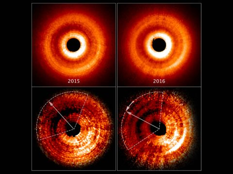 These images, taken a year apart by NASA's Hubble Space Telescope, reveal a shadow moving counterclockwise around a gas-and-dust disk encircling the young star TW Hydrae. The two images at the top, taken by the Space Telescope Imaging Spectrograph, show an uneven brightness across the disk. Through enhanced image processing (images at bottom), the darkening becomes even more apparent. These enhanced images allowed astronomers to determine the reason for the changes in brightness. The dimmer areas of the disk, at top left, are caused by a shadow spreading across the outer disk. (NASA, ESA, and J. Debes (STScI))