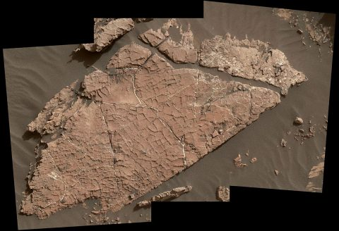 "The network of cracks in this Martian rock slab called ""Old Soaker"" may have formed from the drying of a mud layer more than 3 billion years ago. The view spans about 3 feet (90 centimeters) left-to-right and combines three images taken by the MAHLI camera on the arm of NASA's Curiosity Mars rover. (NASA/JPL-Caltech/MSSS)"
