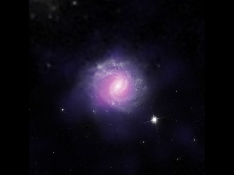This galaxy, called IC 3639, also contains an example of an obscured supermassive black hole. (ESO/NASA/JPL-Caltech/STScI)