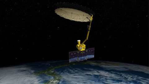 Artist's rendering of NASA's Soil Moisture Active Passive satellite. (NASA/JPL-Caltech)