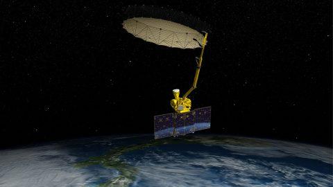 Artist's rendering of NASA's Soil Moisture Active Passive satellite. (NASA/JPL-Caltech)