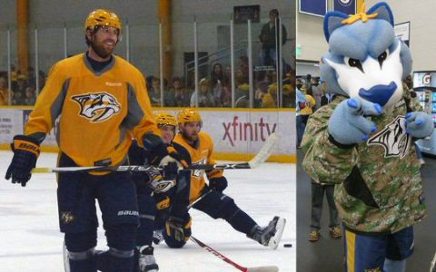 Predators players and their mascot Gnash took time out to meet the fans.