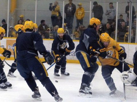 Organized chaos as the Preds prepped for their match against the Canadiens.