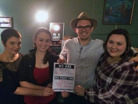Roxy Regional Theatre performers and staff Leigh Martha Klinger, Emily Rourke, Ryan Bowie and Samantha Hodson pledge to 'be a light' in the community as part of The Ghostlight Project.