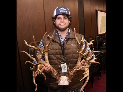Stephen Tucker with the rack of 47-point buck harvested in Sumner County.