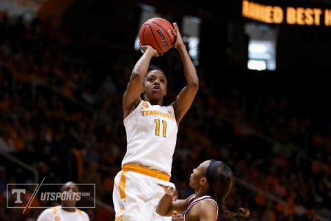 Diamond DeShields #11 of the Tennessee Lady Volunteers during the game between the Mississippi State Bulldogs and the Tennessee Lady Volunteers at Thompson-Boling Arena in Knoxville, TN. (Donald Page/Tennessee Athletics)