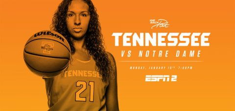 Tennessee Lady Vols host #6/6 Notre Dame for the We Back Pat game on Monday night. (Tennessee Athletics Department)