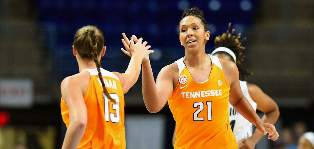 Tennessee Lady Volunteers center Mercedes Russell (21) and guard/forward Kortney Dunbar (13) during game against Auburn. Mercedes Russell notched career high and logs 11th double-double of the season in loss. (Rich Barnes-USA TODAY Sports)