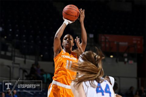 Diamond DeShields #11 of the Tennessee Lady Volunteers during the game between the Tennessee Lady Volunteers and the Florida Gators in Gainesville, FL. (Donald Page/Tennessee Athletics)