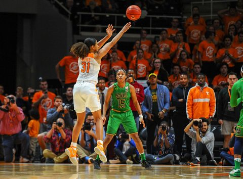 Tennessee Lady Volunteers guard/forward Jaime Nared (31) makes the game winning shot against the Notre Dame Fighting Irish at Thompson-Boling Arena. Tennessee won 71 to 69. (Randy Sartin-USA TODAY Sports)