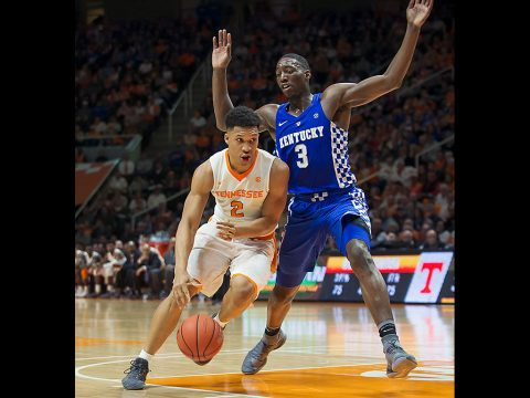 Tennessee Volunteers forward Grant Williams (2) moves the ball on Kentucky Wildcats forward Edrice Adebayo (3) at Thompson-Boling Arena. (Bryan Lynn-USA TODAY Sports)