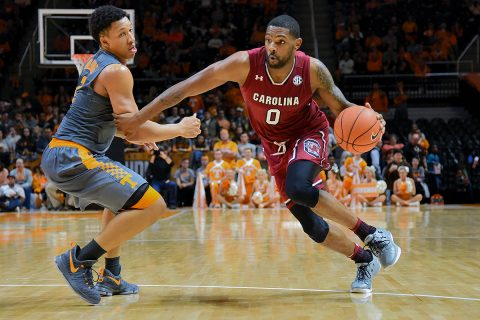 South Carolina Gamecocks guard Sindarius Thornwell (0) moves the ball against Tennessee Volunteers forward Grant Williams (2) during the second half at Thompson-Boling Arena. South Carolina won 70 to 60. (Randy Sartin-USA TODAY Sports)