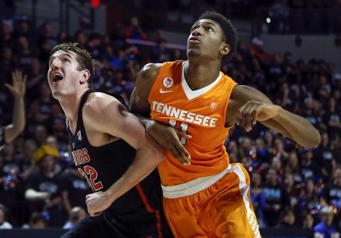 Florida Gators center Schuyler Rimmer (32) boxes out Tennessee Volunteers forward Kyle Alexander (11) during the second half of an NCAA men's basketball game in the Exactech Arena at the Stephen C. O'Connell Center. Gators won 83-70. (Reinhold Matay-USA TODAY Sports)