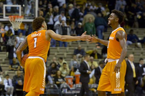 Tennessee Volunteers guard Lamonte Turner (1) reacts with teammate Volunteers guard Jordan Bone (0) after defeating the Vanderbilt Commodores at Memorial Gymnasium. Tennessee won 87-75. (Jim Brown-USA TODAY Sports)