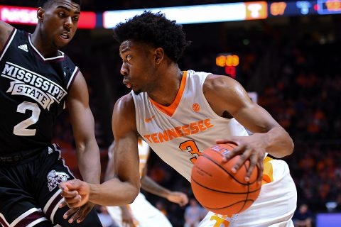 Tennessee Volunteers guard Robert Hubbs III (3) moves the ball against Mississippi State Bulldogs guard Eli Wright (2) during the second half at Thompson-Boling Arena. Tennessee won 91 to 74. (Mandatory Credit: Randy Sartin-USA TODAY Sports)