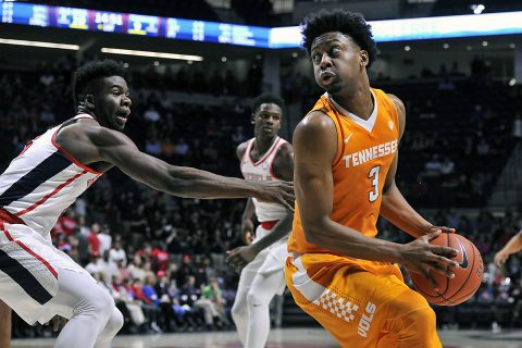 Tennessee Volunteers guard Robert Hubbs III (3) handles the ball against Mississippi Rebels guard Terence Davis (3) during the first half at The Pavilion at Ole Miss. (Justin Ford-USA TODAY Sports)