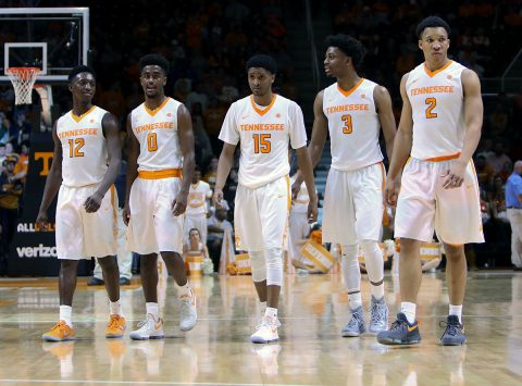 The Tennessee Volunteers during the second half against the Arkansas Razorbacks at Thompson-Boling Arena. Arkansas won 82 to 78. (Randy Sartin-USA TODAY Sports)