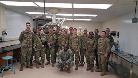 Soldiers from the 101st Airborne Division (Air Assault) pose for a group photo, Jan. 10, 2017, after conducting cadaver laboratory live tissue training at Vanderbilt's Center for Experiential Learning and Assessment in Nashville, Tennessee. Vanderbilt provided two cadavers on which the Soldiers conducted real life emergency and surgical producers. (Courtesy photo)