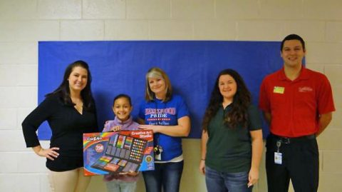 Third Place winner Angely Rojas, 2nd grade student at Hazelwood Elementary, received $25.00 and was awarded a certificate, art kit and a Subway party for her art class.