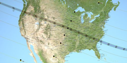 The total solar eclipse of Aug. 21, 2017, stretches across the U.S. from coast to coast, providing scientists with a unique opportunity to study the eclipse from different vantage points. (NASA's Scientific Visualization Studio)