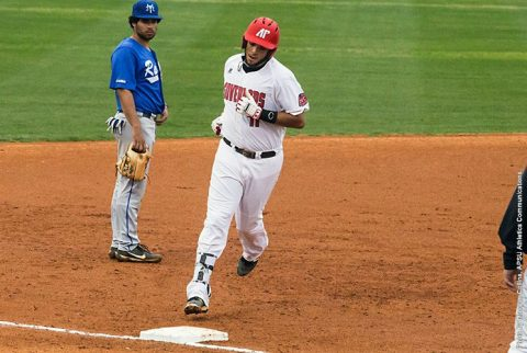 Austin Peay Baseball's Dre Gleason has seven RBIs against the Middle Tennessee Blue Raiders Tuesday night at Raymond C. Hand Park. (APSU Sports Information)