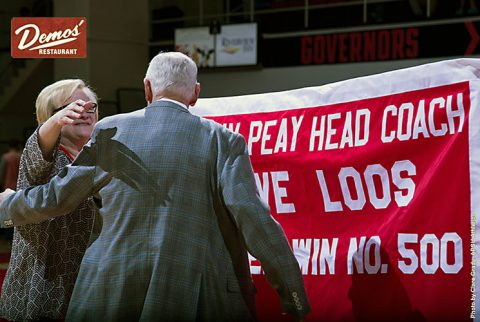 Austin Peay Men's Basketball coach Dave Loos gets 500th Victory Thursday night at the Dunn Center. (APSU Sports Information)