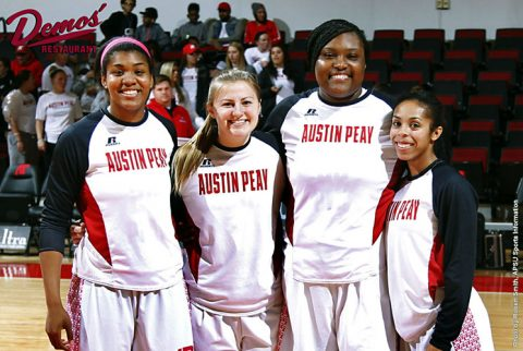 Austin Peay seniors Beth Rates, Jacey Scott, Tearra Banks and April Rivers were honored before the game. (APSU Sports Information)
