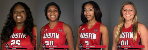 APSU Women's Basketball seniors Tearra Banks, Beth Rates, April Rivers and Jacey Scott