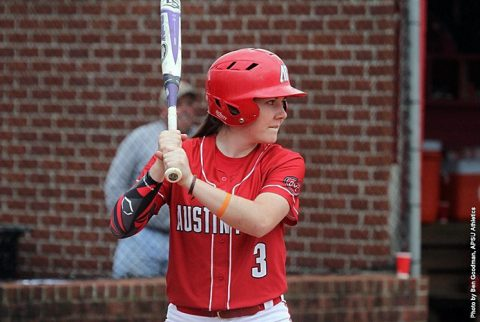Austin Peay Softball sophomore Carly Mattson drives in the winning run Friday night in Game 2 against Wright State. (APSU Sports Information)