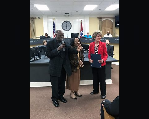 Clarksville Mayor Kim McMillan, right, presented a proclamation honoring Clarksville's African American Churches to The Rev. Jerry Jerkins and Naomi Jerkins before Thursday's City Council Executive Session.