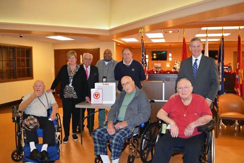 Clarksville Firefighters Association Local 3180 Presents AED to Gilbert Tennessee State Veterans Home