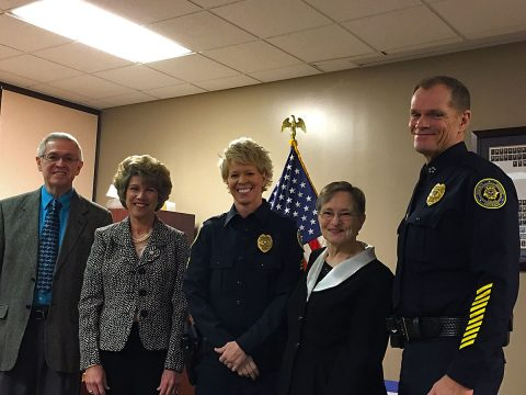 Jack Hall, Clarksville Mayor Kim McMillan, Natalie Hall, Millie Hall, and CPD Chief Ansley