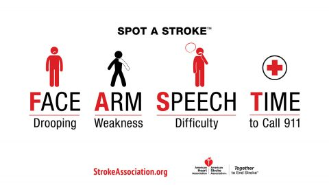 F.A.S.T. infographic with stroke warning signs: Face drooping, Arm weakness, Speech difficulty, Time to call 9-1-1. Strokeassociation.org (American Heart Association)