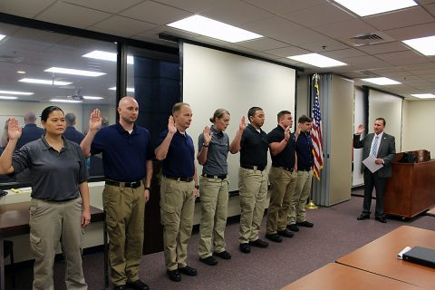 Montgomery County Sheriff John Fuson swears in new Jail Deputies Monday afternoon.