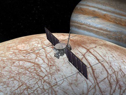 This artist's rendering shows NASA's Europa mission spacecraft, which is being developed for a launch sometime in the 2020s. (NASA/JPL-Caltech)