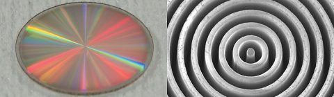 "The vortex mask shown at left is made out of synthetic diamond. Viewed with an scanning electron microscope, right, the ""vortex"" microstructure of the mask is revealed. (University of Liège/Uppsala University)"