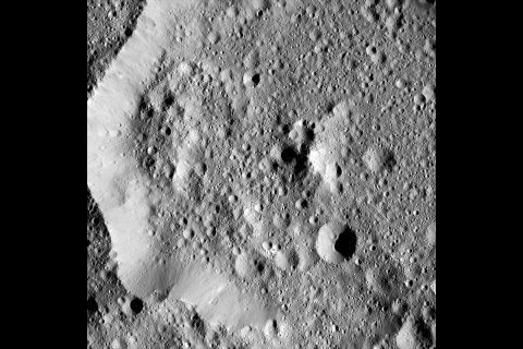Ernutet Crater measures about 32 miles (52 kilometers) in diameter and is located in the northern hemisphere of Ceres. (NASA/JPL-Caltech/UCLA/MPS/DLR/IDA)