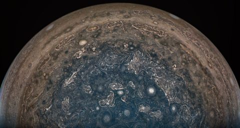 NASA's Juno spacecraft soared directly over Jupiter's south pole when JunoCam acquired this image on February 2, 2017 at 6:06 a.m. PT (9:06 a.m. ET), from an altitude of about 62,800 miles (101,000 kilometers) above the cloud tops. (NASA)