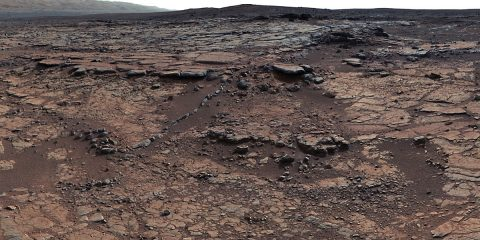 Bedrock at this site added to a puzzle about ancient Mars by indicating that a lake was present, but that little carbon dioxide was in the air to help keep a lake unfrozen. (NASA/JPL-Caltech/MSSS)