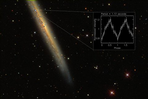 NGC 5907 ULX is the brightest pulsar ever observed. This image comprises X-ray emission data (blue/white) from ESA's XMM-Newton space telescope and NASA's Chandra X-ray Observatory, and optical data from the Sloan Digital Sky Survey (galaxy and foreground stars). The inset shows the X-ray pulsation of the spinning neutron star. (ESA/XMM-Newton; NASA/Chandra and SDSS)