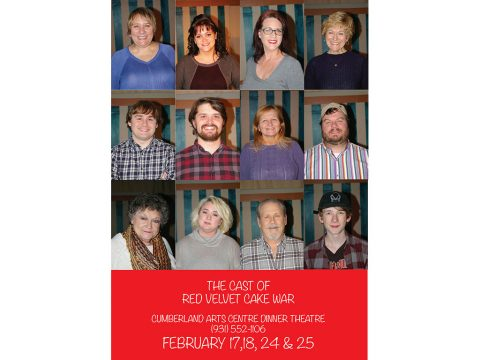 "The cast of ""Red Velvet Cake War"" include Jan Dial, Linda Ellis Cunningham, Linda Turner, Colleen Hyder, Judy Cloud, CC Wheeler, Debbie Striclyn, Alex Maynard, Jeff Wellington Winter Carmack and Scotty Phillips."