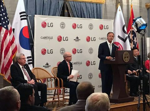 Tennessee Governor Bill Haslam announces LG facility to be built in Montgomery County.